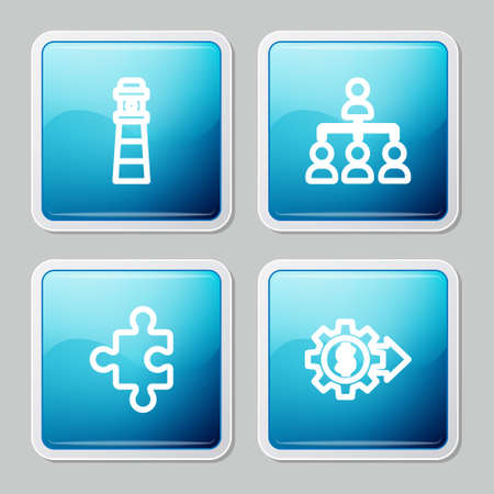 Set line Lighthouse, Hierarchy organogram chart, Piece of puzzle and Gear with dollar icon. Vector