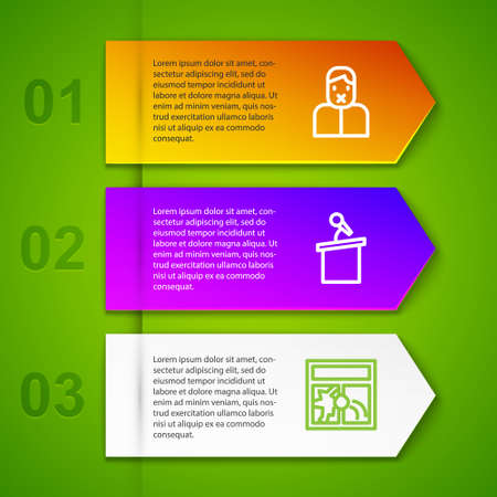 Set line Censor and freedom of speech, Stage stand tribune and Broken window. Business infographic template. Vector