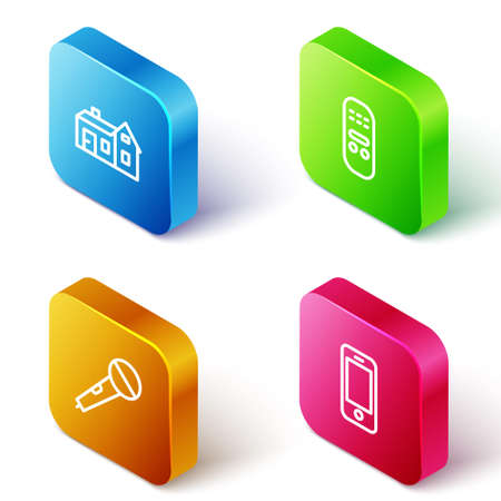Set Isometric line House, Remote control, Microphone and Smartphone icon. Vector