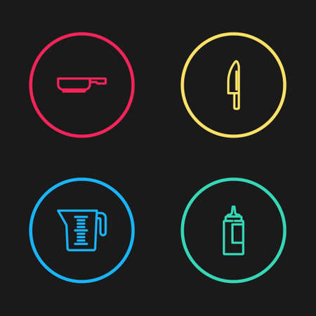 Set line Measuring cup, Sauce bottle, Knife and Frying pan icon. Vector  イラスト・ベクター素材