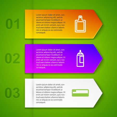 Set line Cutting board, Sauce bottle, Air conditioner and Refrigerator. Business infographic template. Vector