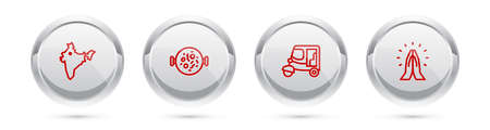Set line India map, Chicken tikka masala, Taxi tuk tuk and Hands in praying position. Silver circle button. Vector Illustration