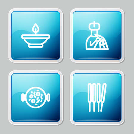Set line Aroma lamp, Indian man plays flute, Chicken tikka masala and sticks, incense icon. Vector