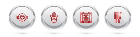 Set line Chicken tikka masala, Hamsa hand, India constitution day and Aroma sticks, incense. Silver circle button. Vector Illustration