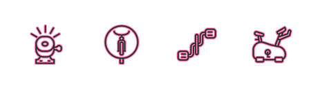 Set line Bicycle bell, pedals, and Stationary bicycle icon. Vector Stock Illustratie