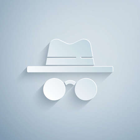 Paper cut Incognito mode icon isolated on grey background. Paper art style. Vector