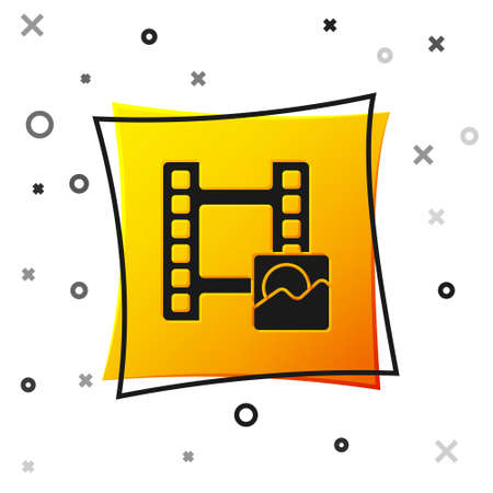 Black Play Video icon isolated on white background. Film strip sign. Yellow square button. Vector