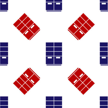 Blue and red Wardrobe icon isolated seamless pattern on white background. Vector