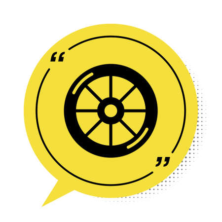 Black Bicycle wheel icon isolated on white background. Bike race. Extreme sport. Sport equipment. Yellow speech bubble symbol. Vector