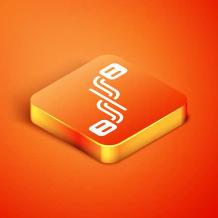 Isometric Bicycle pedals icon isolated on orange background. Vector