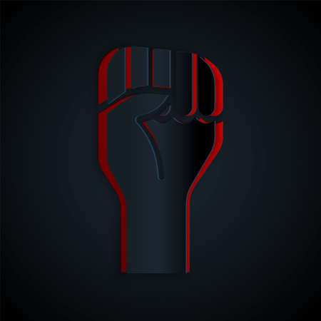Paper cut Raised hand with clenched fist icon isolated on black background. Protester raised fist at a political demonstration. Empowerment. Paper art style. Vector Çizim