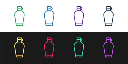 Set line Canteen water bottle icon isolated on black and white background. Tourist flask icon. Jar of water use in the campaign. Vector