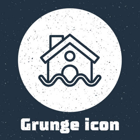 Grunge line House flood icon isolated on grey background. Home flooding under water. Insurance concept. Security, safety, protection, protect concept..