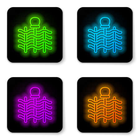 Glowing neon line Wicker fence of thin rods with old clay jars icon isolated on white background. Black square button. Vector