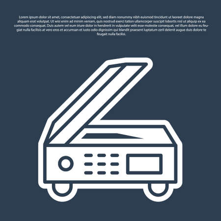 Blue line Scanner icon isolated on blue background. Scan document, paper copy, print office scanner. Vector
