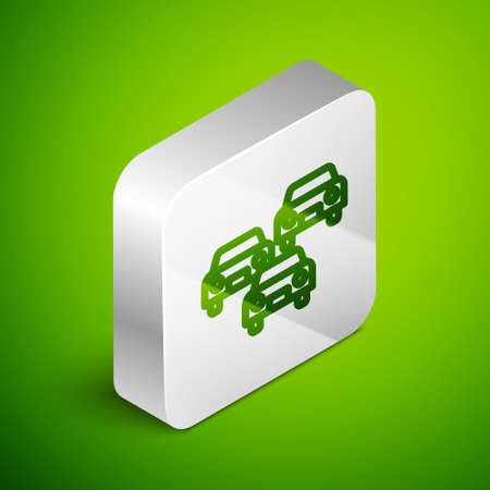 Isometric line Traffic jam on the road icon isolated on green background. Road transport. Silver square button. Vector