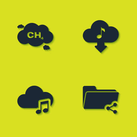 Set Methane emissions reduction, Share folder, Music streaming service and Cloud download music icon. Vector