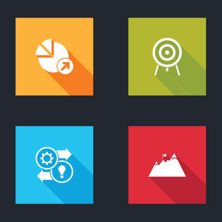 Set Financial growth, Target, Human resources and Mountains with flag icon. Vector