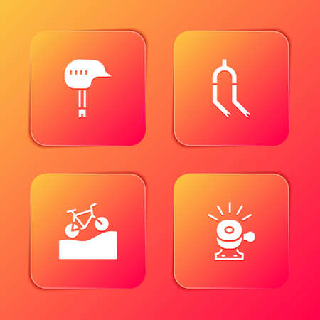 Set Bicycle helmet, fork, Mountain bicycle and bell icon. Vector
