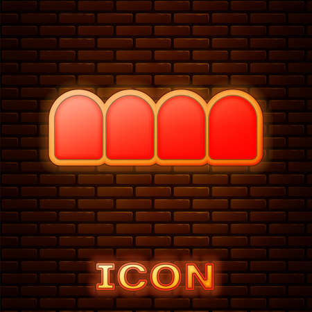 Glowing neon Dentures model icon isolated on brick wall background. Teeth of the upper jaw. Dental concept. Vector Stock Illustratie