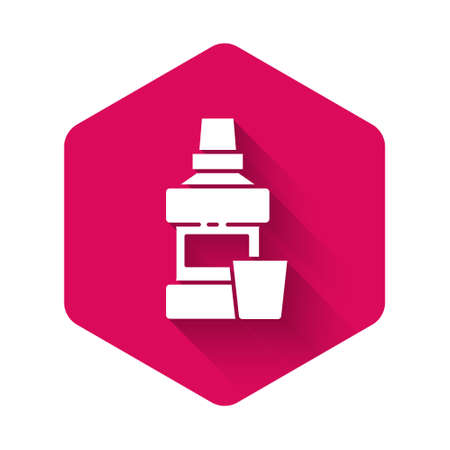 White Mouthwash plastic bottle and glass icon isolated with long shadow. Liquid for rinsing mouth. Oralcare equipment. Pink hexagon button. Vector