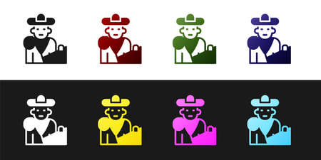 Set Spain bullfight, matador icon isolated on black and white background. Traditional Spanish entertainment. Vector