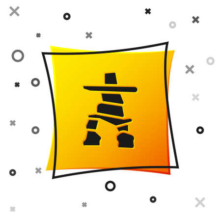 Black Inukshuk icon isolated on white background. Yellow square button. Vector Illustration