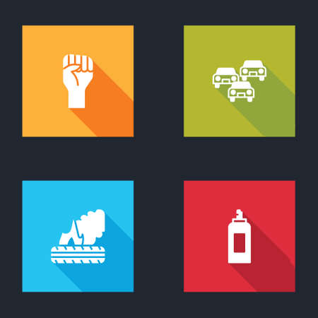 Set Raised hand with clenched fist, Traffic jam, Lying burning tires and Paint spray can icon. Vector