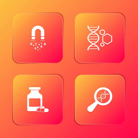 Set Magnet with money, Genetic engineering, Medicine bottle and pills and DNA research, search icon. Vector