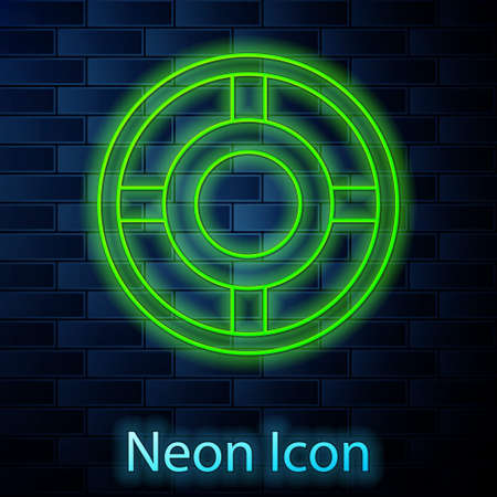 Glowing neon line Ashtray icon isolated on brick wall background. Vector Illustration Illustration