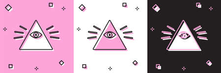 Set Masons symbol All-seeing eye of God icon isolated on pink and white, black background. The eye of Providence in the triangle. Vector Illustration Illustration