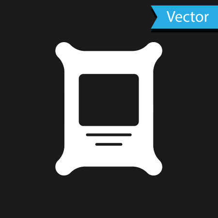 White Fertilizer bag icon isolated on black background. Vector Vettoriali