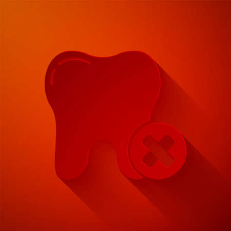 Paper cut Tooth with caries icon isolated on red background. Tooth decay. Paper art style. Vector 向量圖像