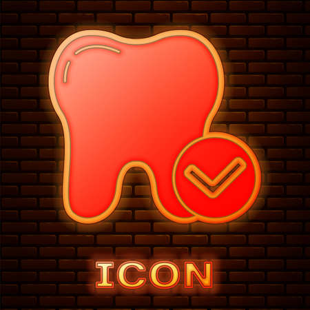 Glowing neon Tooth whitening concept icon isolated on brick wall background. Tooth symbol for dentistry clinic or dentist medical center. Vector Stock Illustratie