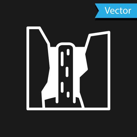 White Algar waterfall icon isolated on black background. Region Alicante. Spain. Vector
