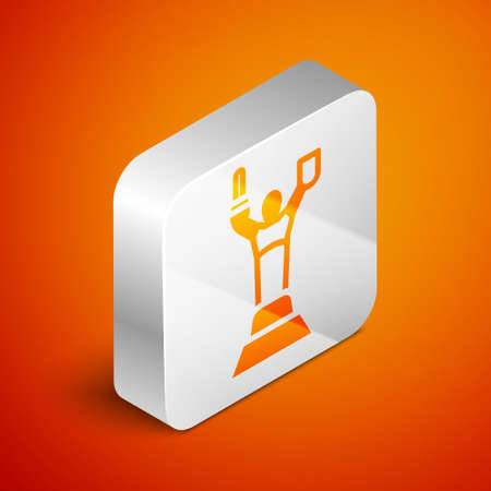 Isometric Mother Motherland monument in Kiev, Ukraine icon isolated on orange background. Silver square button. Vector