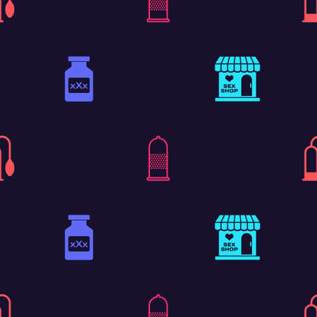 Set Sex shop building, Bottle with pills for potency, Condom safe and Penis pump on seamless pattern. Vector
