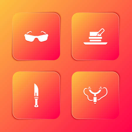 Set Glasses, Hunter hat with feather, knife and Slingshot icon. Vector