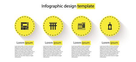 Set House Edificio Mirador, Aqueduct of Segovia, Dali museum and Orujo. Business infographic template. Vector