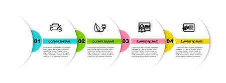 Set line Hydrogen car, Electric saving plug in leaf, Certificate template and Financial document. Business infographic template. Vector Vektorgrafik