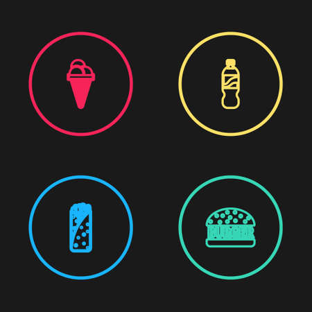 Set line Burrito, Burger, Bottle of water and Ice cream in waffle cone icon. Vector