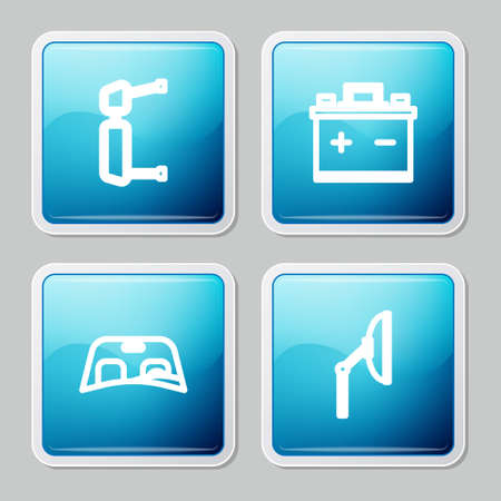 Set line Truck side mirror, Car battery, windscreen and Windscreen wiper icon. Vector Ilustração