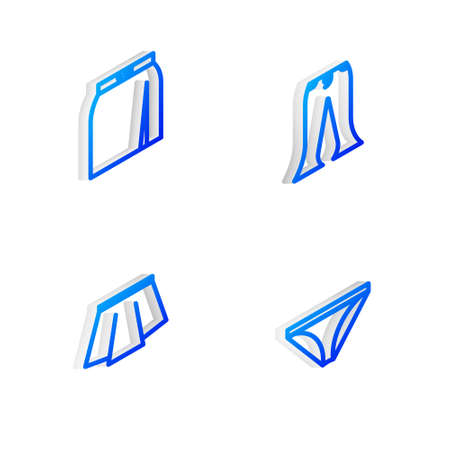Set Isometric line Pants, Skirt, and Men underpants icon. Vector