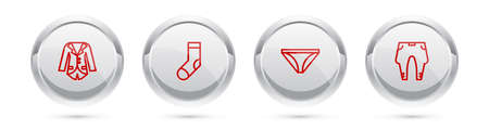 Set line Blazer or jacket, Socks, Men underpants and Pants. Silver circle button. Vector Иллюстрация