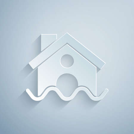 Paper cut House flood icon isolated on grey background. Home flooding under water. Insurance concept. Security, safety, protection, protect concept..