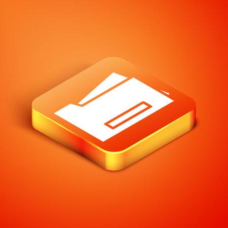 Isometric Printer icon isolated on orange background. Vector