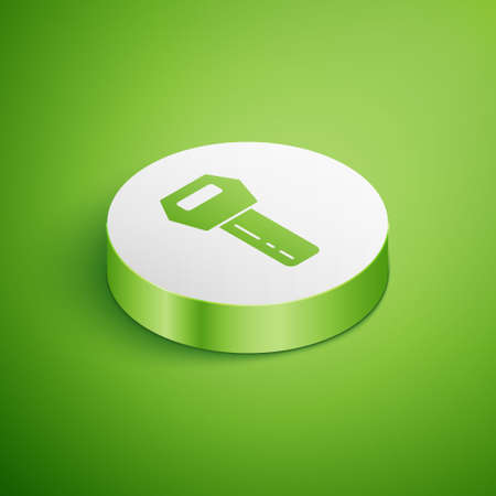 Isometric Car key with remote icon isolated on green background. Car key and alarm system. White circle button. Vector Illustration