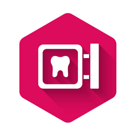 White Dental clinic location icon isolated with long shadow. Pink hexagon button. Vector