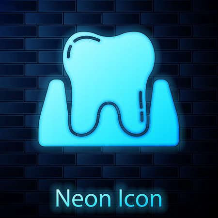Glowing neon Tooth icon isolated on brick wall background. Tooth symbol for dentistry clinic or dentist medical center and toothpaste package. Vector