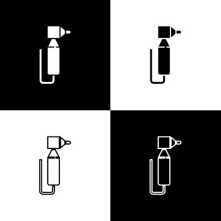 Set Tooth drill icon isolated on black and white background. Dental handpiece for drilling and grinding tools. Vector